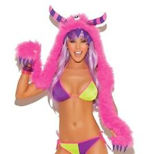 Furry Monster Hood With Striped Horn Adult Womens Valentine Multi-Color One Size
