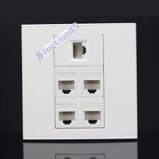 Wall Socket Plate 5 Ports CAT6 LAN Network Ethernet Panel Faceplate RJ45 CAT6