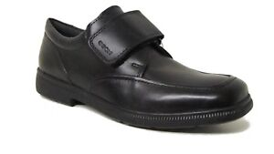 Geox Federico One Strap Black Leather School Shoes