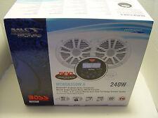 "New Boss Audio MCKGB350W.6 MARINE GAUGE RADIO + TWO 6.5"" White Speakers MGR350B"