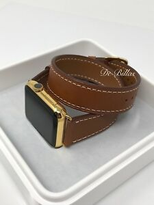 24K Gold Plated 42MM Apple Watch SERIES 2 with Double Tour Brown Leather Band