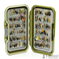 Waterproof Fly Box + Assorted Mixed Wet Trout Flies for Fly Fishing Sizes 8 - 18