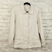 Charter Club Womens 0X Blazer Jacket 100% Linen Beige Button-Down Collared NWT