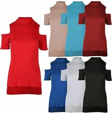 Ladies Turtle Neck Cold Cut Out Shoulder T Shirt Top Thermal Wear Jumper 8-14