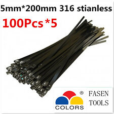 500PCS 5x200mm Stainless Steel Cable Zip Ties--Exhaust Wrap Coated Locking
