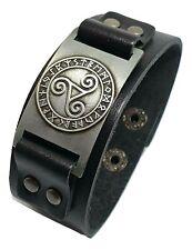 Vegvisir Icelandic Magic Stave Heathen Viking Compass Rune Leather Cuff Bracelet