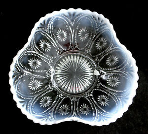 Antique NORTHWOOD opalescent glass BEADED OVALS white triangle WHIMSEY BOWL 1906