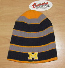 MICHIGAN WOLVERINES STRIPED 2 SIDES CUFFLESS WINTER KNIT HAT CAP