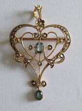 Deliziosa Fine Art Nouveau 9 KT ORO ACQUAMARINA & Semi Pearl Set Ciondolo Spilla