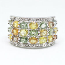 New Sterling Silver 925 Wide Ring with Cocktail Gemstones size 8