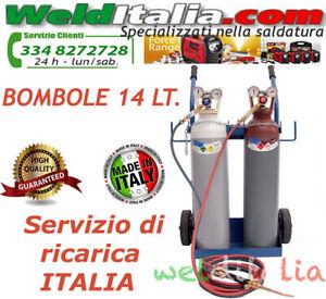 BOMBOLE SALDATURA AUTOGENA CANNELLO OSSIGENO/ACETILENE DA 14 LT. CARRELLO PIENE