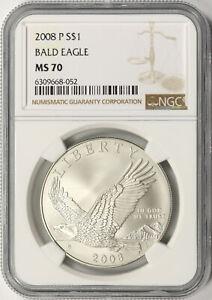 2008-P Bald Eagle $1 Commemorative Silver Dollar NGC MS70