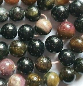 20 Multi Tourmaline 10mm Gemstone Crystal Beads for Jewellery Making 8in RSPCA