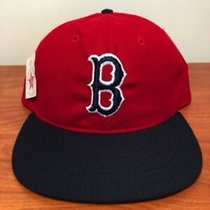 Boston Red Sox Hat Baseball Cap Fitted 7 1/2 Roman Leather Vintage 80s MLB NWT