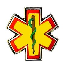 Star Of Life Green Serpent Red Edge Gold Lapel Cap Pin Badge Tac EMT EMS New