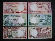 COLOMBIA  100 + 200 + 500 Pesos Oro 1991-93  (P426A + P429A + P431A)  UNC