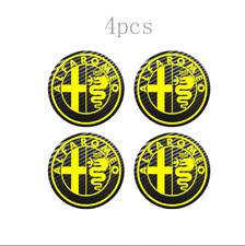 4x60mm For Alfa Romeo Wheel Center Stickers Carbon Badge Logo Yellow Gray