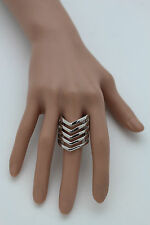 New Women Ring Fashion Jewelry Silver Metal Chevron Stripes Finger Elastic Band