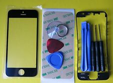 Black New Front Glass Outer Lens Touch Screen Cover + Frame Bezel for iPhone 5