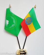 African Union & Ethiopia Double Friendship Table Flag Set