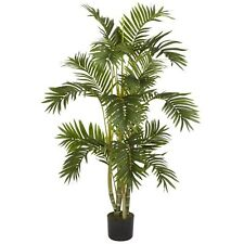 Decorative Natural Looking Artificial 4' Areca Potted Palm Silk Tree Plants Faux