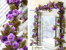 Shabby Chic Purple Rose Garland Flower Vintage Style 7ft  WEDDING String Bedroom