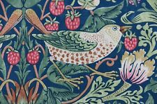 "WILLIAM MORRIS CURTAIN FABRIC ""Strawberry Thief"" 1 MTR INDIGO/MOSS/PERSIAN PINK"