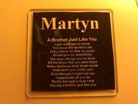Personalised Coaster - Brother  Poem & Name - Black  Silk Design + GIFT BOX