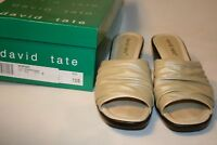 "David Tate Sophie Champagne Womens 2"" Heel Leather Sandals 7.5 N Slides Shoes"