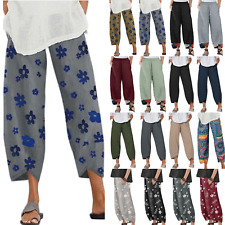 Women Ladies Cotton Linen Floral Harem Pants Summer Casual Baggy Slacks Trousers