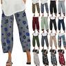 Women Casual Wide Leg Floral Harem Pants Summer Cropped Baggy Slacks Trousers