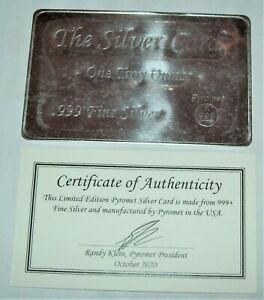 COA *NEW/>GIFT!* 1-Troy oz .999 Silver Card /'Proof-Like/' BAR Pres Sleeve//Wallet