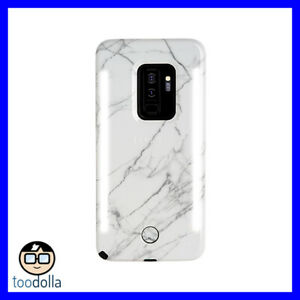 LuMee Duo selfie case with front and back lights for Galaxy S9+, White Marble
