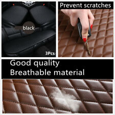Durable 3Pc/Set Black PU Leather Car Front Back Seat Protector Cover Cushion Mat