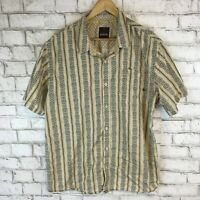 Prana Men's Brown Short Sleeve Tropical Outdoor Button Front Shirt Size 2XL XXL
