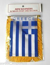 GREECE GREEK MINI POLYESTER INTERNATIONAL FLAG BANNER 3 X 5 INCHES