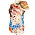 Women's M Top Patriotic Constitution We the People Eagle Red White Blue US Flag
