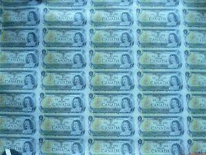 CANADA 1986  1 DOLLAR SHEET UNCUT 40 BANKNOTES  PREFIX BFD