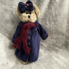"Bearington Collection 10"" Brown Bear Plush Blue Velour Dress"