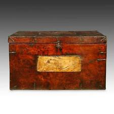 RARE ANTIQUE TRUNK PAINTED PINE WOOD IRON TIBET CHINESE FURNITURE 18TH C.