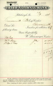 1891 Pittsburgh Pennsylvania (PA) Receipt Third National Bank W. Steinmeyer