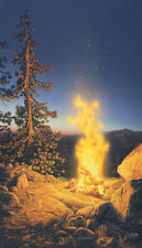 Stephen Lyman SUNSET FIRE 28x16 S/N Paper Art Campfire Great Outdoors Yosemite