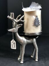 Buck Deer Candle Holder Stainless Steel Candle W/Christmas Tree Silver White New