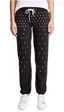 $168 NWT MONROW Soft Black Vintage Stud Sweatpants SHOPBOP Sold Out Yoox RARE S