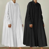 UK Plus Size Women Casual Swing Long Shirt Dress Muslim Abaya Jilbab Maxi Kaftan