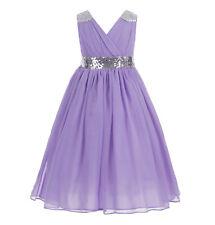 V-Neck Sequins Chiffon Flower girl dress Pageant Dresses Wedding Junior Dresses
