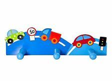 Mousehouse Blue Wooden Car Themed Triple Coat Hook for Boys Nursery or Bedroom