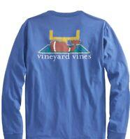 Vineyard Vines Women's LS Touchdown Whale T-Shirt Tide Blue Size M Brand NWT
