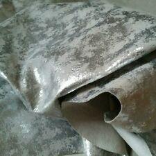 Distressed Silver Fashion Metallic Foil Leather Suede Skins Hides 15 sqft
