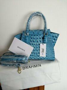 Brahmin Mini Priscilla Cerulean Melbourne Leather Bag NWT